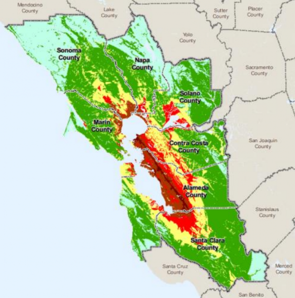 potential severity of ground shaking in the bay area during a magnitude 6 9 earthquake on the