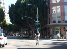 Example of an arterial street that is designed with amenities that attract and support pedestrians, bicyclists, and transit riders.