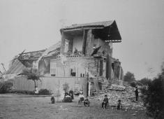 Photographs showing damage from the 1868 Hayward Earthquake. Courtesy of the Hayward Area Historical Society.