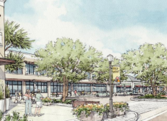 Image of a new retail center at the northeast corner of Carlos Bee Boulevard and Mission Boulevard.  Source: Mission Boulevard Corridor Specific Plan
