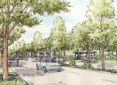 "Image of a walkable Mission Boulevard (north of ""A"" Street).  Source: Mission Boulevard Corridor Specific Plan"