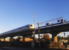 BART train traveling through the City of Hayward