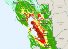 Potential severity of ground shaking in the Bay Area during a magnitude 6.9 earthquake on the Hayward Fault.  Areas in red would experience very strong to very violent ground shaking.  Source: Association of Bay Area Governments.