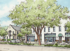 Example of a compatible neighborhood mixed-use project that incorporates the design strategies outlined in Policy LU-3.4. Source: Mission Boulevard Corridor Specific Plan