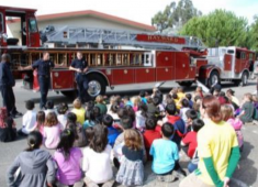 Hayward Fire Department teaching youth about fire prevention.