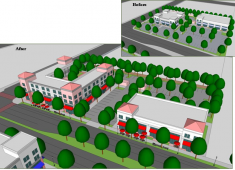 Example of how auto-oriented and strip commercial properties (top right) can be transformed into attractive pedestrian-oriented developments that frame and enhance the visual character of corridors (bottom) by incorporating the design strategies in Policy LU-4.4.