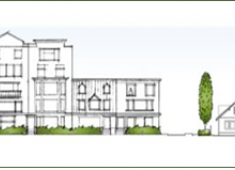 Example of a project that transitions in mass, height, and scale as it approaches adjacent single-family residential properties. (Source: South Hayward BART/Mission Boulevard Concept Design Plan)