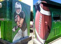 Utility box murals used to reduce graffiti.