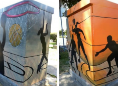 Utility box murals used to reduce graffiti.