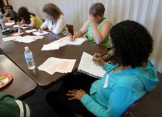 Hayward residents engaged in a writing workshop.