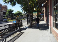 Example of a wide sidewalk that can accommodate street trees and a variety of pedestrian amenities.