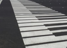 Example of a well-marked pedestrian crossing that is designed to look like piano keys.