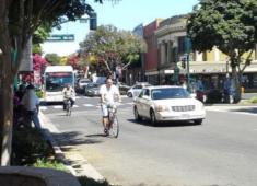 Bicyclist in Downtown Hawyward.