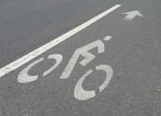 Bike lane marking on Whitman Street.