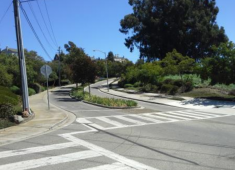 Example of curvilinear street in Hayward that respects the natural topography of the hillside.