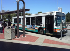 AC Transit bus at the Hayward BART Station.