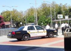 BART Police monitoring the Hayward BART Station.