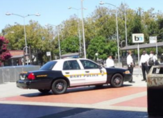 BART Police monitoring the Hayward BART Station.