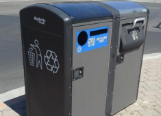 Solar-powered solid waste and recycling compactors in Downtown Hayward.
