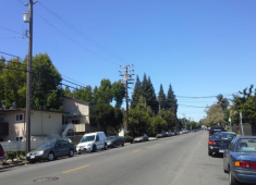 Street that could be visually improved by undergrounding utility lines.