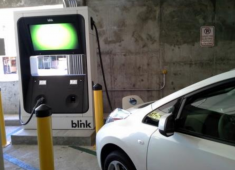 Electric car charging facility in Downtown Hayward parking structure.